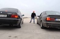 BMW E38 740i vs BMW  E34 525i street race