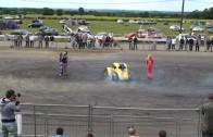 Car stunt, drift, donuts around grid girls at Santa Pod