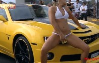 Chevrolet Camaro. Sexy car wash. Beautiful girls in bikini