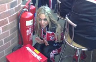 Grid girl Paige trying to keep warm