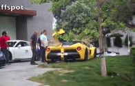 LaFerrari BREAKS DOWN doing Burnouts and Nearly Crashes in Beverly Hills with Porsche GT3!