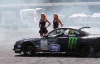 Luke Woodham drifts around the Monster Girls at Monster Energy Gymkhana Grid round 1 in France