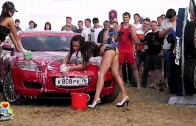 Mazda and Russian sexy girl in bikini car wash