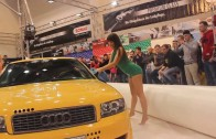 Playmates make a Sexy Car Wash with SONAX Products during Essen Motor Show 2013 on a Audi A4