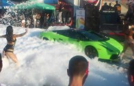 Sexy car wash green lamborghini