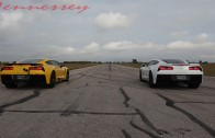 Stock C7 Corvette vs Hennessey Corvette Street Race
