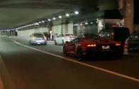 Supercar Street Race Lamborghini Aventador, Ferrari, Speciale A, Monaco Supercars 2015