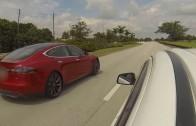 Tesla Model S P85 vs 2008 Mitsubishi Evo GSR street Race from a Dead Stop