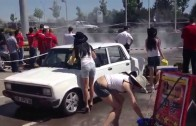 Turbo 124 and E30 Burnout Sexy Girl Car Wash