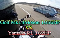 Vw Golf Mk1 1056PS vs Yamaha R1 182PS street race
