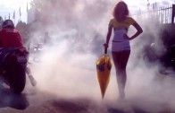 Yamaha R1Burnout next to stunning grid girl!!