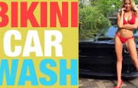 Bikini Car Wash:  Model Christina vs SRT Hellcat