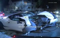 Ferrari 458 Italia Hits Building, Totaled after Street Race Crash with Porsche / Hollywood