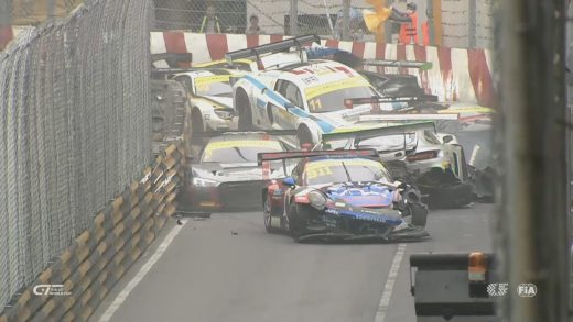 FIA GT World Cup 2017. Qualification Race Macau Grand Prix. Huge Pile Up