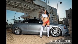 Kassie with a Custom Bagged Audi A5 on Conceptone CR1 Wheels